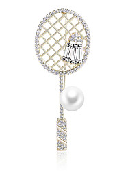 cheap -Women's AAA Cubic Zirconia Brooches Creative Stylish Simple Vintage Sweet Fashion Pearl Brooch Jewelry Golden For Party Gift Street Holiday Work