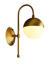 cheap -Wall Lamp Indoor Wall Sconces with White Globe Shade Bedroom Corridor Night Light Wall Mount Brass
