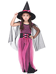 cheap -Witch Cosplay Costume Masquerade Costume Kid's Girls' Halloween Halloween Festival / Holiday Spandex Polyester / Polyamide Fuchsia Carnival Costumes