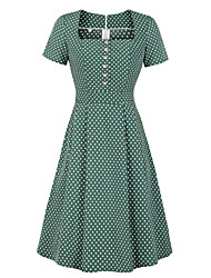 cheap -Vintage Dress Women's Costume Green Vintage Cosplay Date Street Midi A-Line