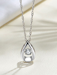 cheap -Women's Red White AAA Cubic Zirconia Pendant Necklace Classic Fashion S925 Sterling Silver Silver 45 cm Necklace Jewelry 1pc For Daily