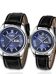 cheap -Couple's Dress Watch Quartz Stylish Genuine Leather Black / Brown 30 m Casual Watch Analog Casual Fashion - White Blue Two Years Battery Life / Stainless Steel