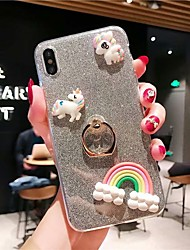 cheap -Case For Apple iPhone XS / iPhone XR / iPhone XS Max Ring Holder / Transparent / Pattern Back Cover Transparent / 3D Cartoon / Glitter Shine TPU