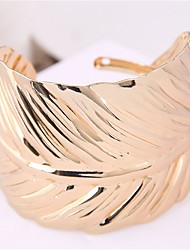 cheap -Women's Bracelet Bangles Cuff Bracelet Wide Bangle Classic Leaf Simple European Trendy Fashion Oversized Alloy Bracelet Jewelry Gold / Silver For Party Gift Daily Street Club