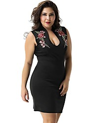 cheap -Women's Vintage Sophisticated Bodycon Sheath Dress - Solid Colored Embroidered Black M L XL XXL