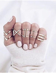 cheap -Women's Ring Set Multi Finger Ring 5pcs Gold Alloy Simple Punk European Party Gift Jewelry X Ring
