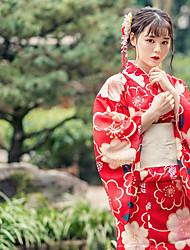 cheap -Geisha Adults' Women's Cosplay Kimonos Dress Cosplay Costume Japanese Traditional Kimono For Party Halloween Festival Polyster Halloween Carnival Masquerade Dress Bow Sash / Ribbon
