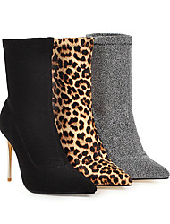 cheap -Women's Boots Print Shoes Stiletto Heel Pointed Toe Elastic Fabric Booties / Ankle Boots Classic / Minimalism Spring &  Fall / Fall & Winter Black / Leopard / Silver
