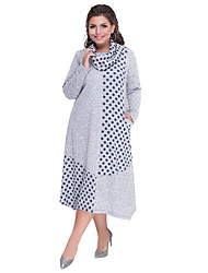 cheap -Women's Plus Size Black Gray Dress Basic Elegant Sheath T Shirt Polka Dot Patchwork L XL