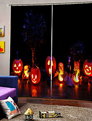 cheap -Blackout Luxury Window Curtains Custom Ready Made for Living Room Happy Halloween Pumpkin Lanterns Background Curtain