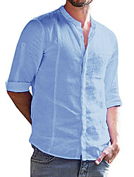 cheap -Men's Casual / Daily Basic Cotton / Linen Shirt - Solid Colored Patchwork Standing Collar Light Blue