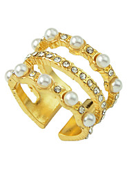 cheap -Women's Ring 1pc Gold Pearl Rhinestone Alloy Luxury Unique Design Fashion Engagement Gift Jewelry Hollow Out Cool Lovely