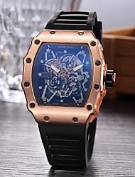 Недорогие -Муж. Спортивные часы Часы со скелетом Наручные часы Кварцевый Pезина Черный Повседневные часы Аналоговый Кулоны - Черный Серебряный Розовое золото