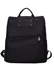 Недорогие -Большая вместимость Оксфорд Молнии рюкзак Сплошной цвет Школа Черный