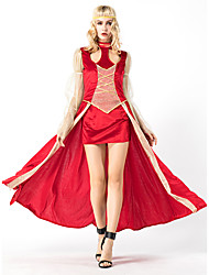 cheap -Princess Cosplay Costume Masquerade Adults' Women's Cosplay Halloween Halloween Festival / Holiday Cotton Polyster Drak Red Women's Carnival Costumes
