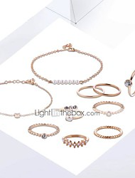 cheap -Women's Chain Bracelet Ring Set Pendant Bracelet Classic Stylish Unique Design Imitation Pearl Gold Plated Earrings Jewelry Gold / Silver For Daily Work 1 set