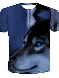 levne -Pánské Větší velikosti Barevné bloky 3D Vlk Tisk Tričko Základní Přehnaný Denní Jdeme ven Kulatý Světle modrá / Krátký rukáv / Zvíře
