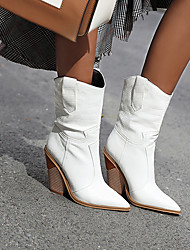 cheap -Women's Boots Cowboy / Western Boots Chunky Heel Pointed Toe PU Fall Light Yellow / Dark Red / White