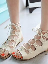 cheap -Women's Sandals Flat Heel Round Toe Rivet PU Summer Black / Red / Beige