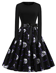 cheap -Women's Black Dress Vintage Halloween A Line Animal Patchwork Print S M