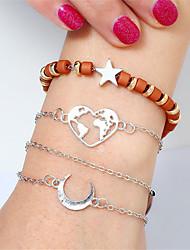 cheap -4pcs Women's Bead Bracelet Bracelet Link Bracelet Layered Moon Heart Star Simple Vintage European Fashion Acrylic Bracelet Jewelry Silver For Party Daily Street Holiday Club