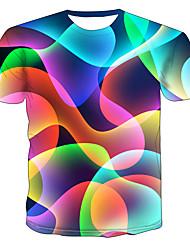levne -Pánské Větší velikosti Barevné bloky 3D Tisk Tričko Základní Přehnaný Denní Jdeme ven Kulatý Duhová / Krátký rukáv