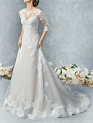cheap -A-Line Jewel Neck Court Train Tulle 3/4 Length Sleeve Made-To-Measure Wedding Dresses with Appliques / Buttons 2020