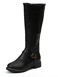 cheap -Women's Boots Knee High Boots Low Heel Round Toe PU Knee High Boots Winter Black / Brown / Yellow