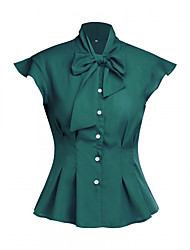 cheap -Audrey Hepburn Retro Vintage 1950s Blouse / Shirt Masquerade Women's Cotton Costume Black / Green / Red Vintage Cosplay Party