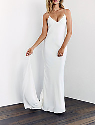 cheap -Sheath / Column Wedding Dresses V Neck Sweep / Brush Train Satin Spaghetti Strap Sexy Backless with 2021