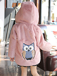 cheap -Kids Girls' Active Basic Print Regular Faux Fur Jacket & Coat Black