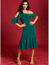 cheap -Women's Cocktail Party Basic Sheath Dress - Solid Colored Off Shoulder Green S M L XL
