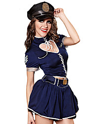 cheap -Women's Police Adults' Sexy Uniforms Cosplay Costume Top Skirt Hat / Spandex