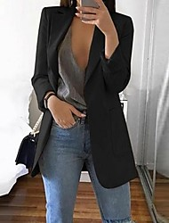 cheap -Women's Blazer, Solid Colored Notch Lapel Polyester Black / Gray / Khaki