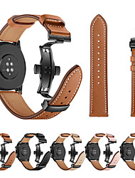 cheap -For Huawei Watch GT Watch Band Black Butterfly Buckle Genuine Leather Strap Bracelet Belt