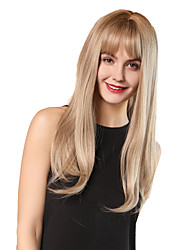 cheap -Synthetic Wig Bangs Straight Natural Straight Neat Bang With Bangs Wig Blonde Long Light golden Dark Brown / Dark Auburn Synthetic Hair 24 inch Women's Women Synthetic Fashion Blonde HAIR CUBE