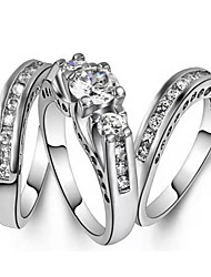 cheap -Women's Ring 3pcs Silver Imitation Diamond Alloy Geometric Trendy Korean Fashion Daily Jewelry Classic Lucky