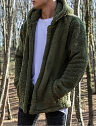 cheap -Men's Daily EU / US Size Regular Jacket, Solid Colored Hooded Long Sleeve Polyester Black / Beige / Army Green