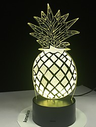 cheap -Pineapple LED Night Light 7 Colors 3D Optical Illusion Lamp for Bedroom Desk Lamp