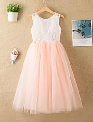 cheap -Kids Girls' Cute Solid Colored Mesh Sleeveless Midi Dress White