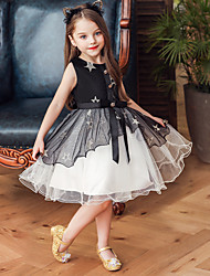 cheap -Kids Toddler Girls' Basic Galaxy Bow Patchwork Embroidered Sleeveless Knee-length Dress Black