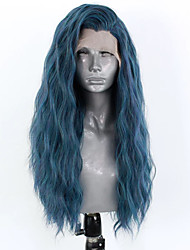 cheap -Synthetic Lace Front Wig Wavy Side Part Lace Front Wig Long Blue Synthetic Hair 18-26 inch Women's Adjustable Heat Resistant Party Blue