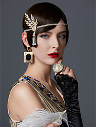 cheap -The Great Gatsby Pendant 1920s Roaring Twenties Flapper Headband Women's Rhinestone Costume Golden / Black / Silver Vintage Cosplay Party Prom / Hair Band / Hair Band