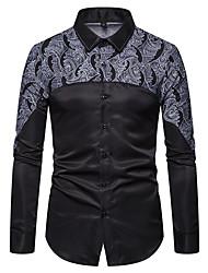 cheap -Men's Party Halloween Elegant / Rock Shirt - Geometric / Graphic Black & White, Print Black