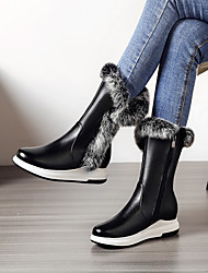 cheap -Women's Boots Wedge Heel Round Toe PU(Polyurethane) Mid-Calf Boots Classic / Preppy Fall & Winter Black / White