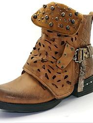 cheap -Women's Boots Block Heel Round Toe Rivet PU Booties / Ankle Boots Summer Black / Brown / Gray