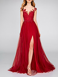 cheap -A-Line V Neck Court Train Chiffon / Lace Sexy / Red Engagement / Formal Evening Dress with Appliques / Split 2020