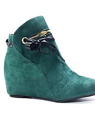 cheap -Women's Heels Wedge Heel Round Toe PU Fall Black / Red / Blue / Daily