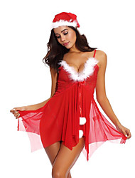 cheap -Santa Suit Dress Cosplay Costume Christmas Dress Adults' Women's Cosplay Christmas Christmas Festival Christmas Halloween Carnival Festival / Holiday Lace Polyster Red Women's Carnival Costumes