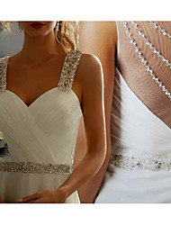 cheap -A-Line Wedding Dresses Sweetheart Neckline Sweep / Brush Train Chiffon Lace Spaghetti Strap Simple Sparkle & Shine Backless with Beading Lace Insert 2020